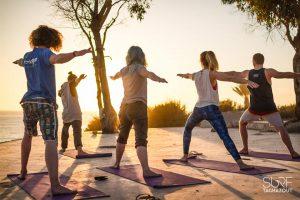 Yoga class in the surf villa terrace
